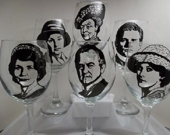 Hand Painted Glassware,  Painted Wine Glasses, Downton Abbey