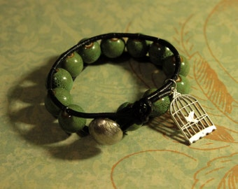 Green Ceramic Beaded Leather Wrap Bracelet With Charm