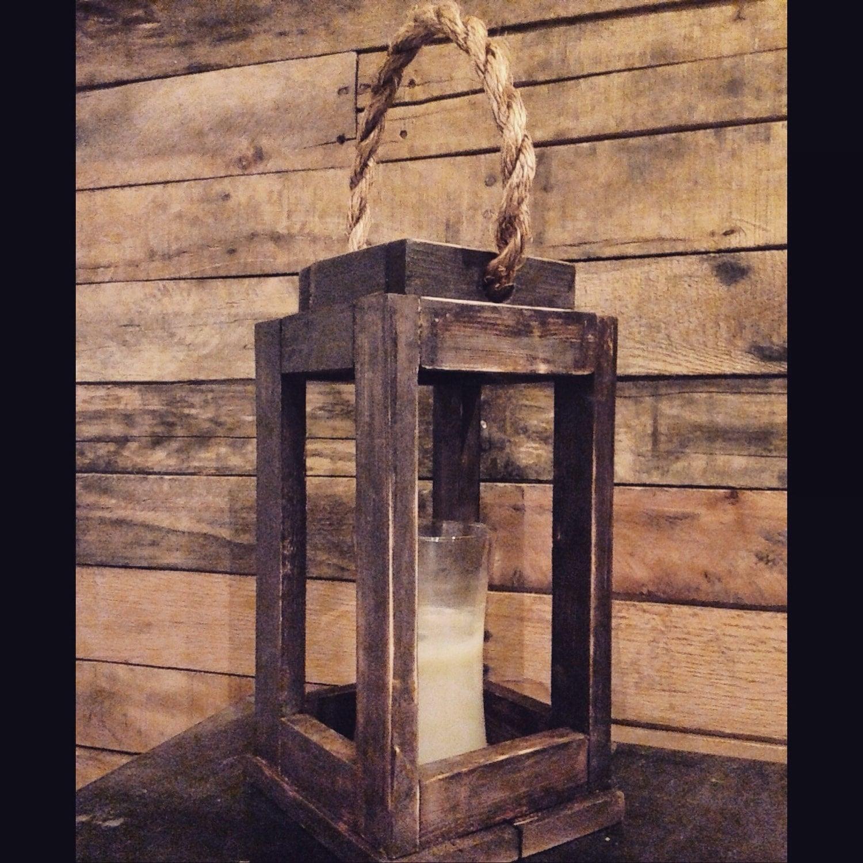 Rustic Wood Lantern Candle Holder. Bedroom Decor. Vintage.