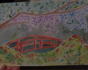 Watercolour bridge under glycine