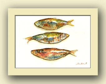 Pilchard fish - fish watercolor animal decor-Sardine pilchard fishing -ocean wall art -balck - Original watercolor painting- Juan Bosco