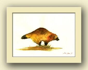 Wolverine animal -gulo gulo american- Forest wildlife animal nursery decor - animal life wall art - Original watercolor painting- Juan Bosco
