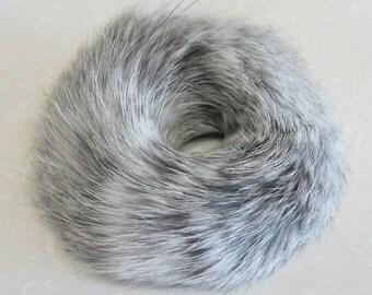 Gray Real Rex Fur ponytail holder hair band scrunchie