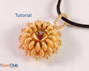 Superduo Pendant Pattern - Beading Patterns and Tutorials - Beadweaving Tutorial - Rivoli Pendant Beadwork - PDF- Crystal Treasure Pendant