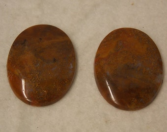 Mossy Agate Cabochon Stone Set of Two