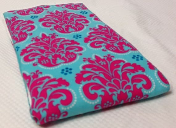 Burp Cloth - Pink Turquoise- FREE Embroidery