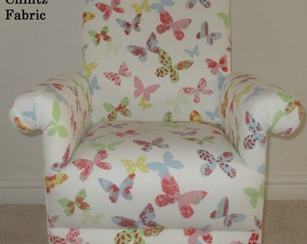 Prestigious Butterflies Fabric Childu0027s Chair Kids Armchair Butterfly Chintz  Vintage Cream Lilac Lavender Bespoke Handcrafted In