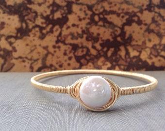 Pearl Wire Wrapped Bracelet