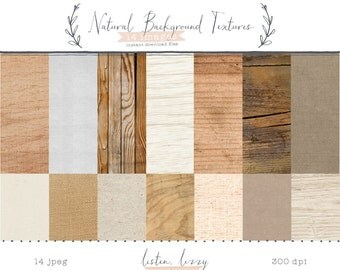 Natural Background Textures Set // 14 Digital Papers // Wood Textures, Burlap Textures, Paper Textures + More