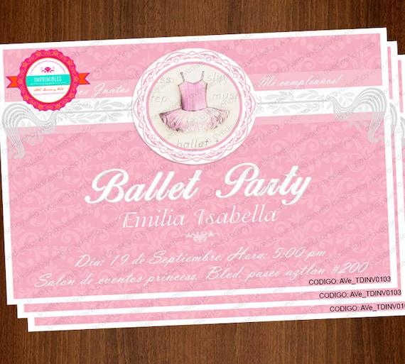 Invitaciones Tutu de Ballet Invitaciones by AVeDisenoImprimible