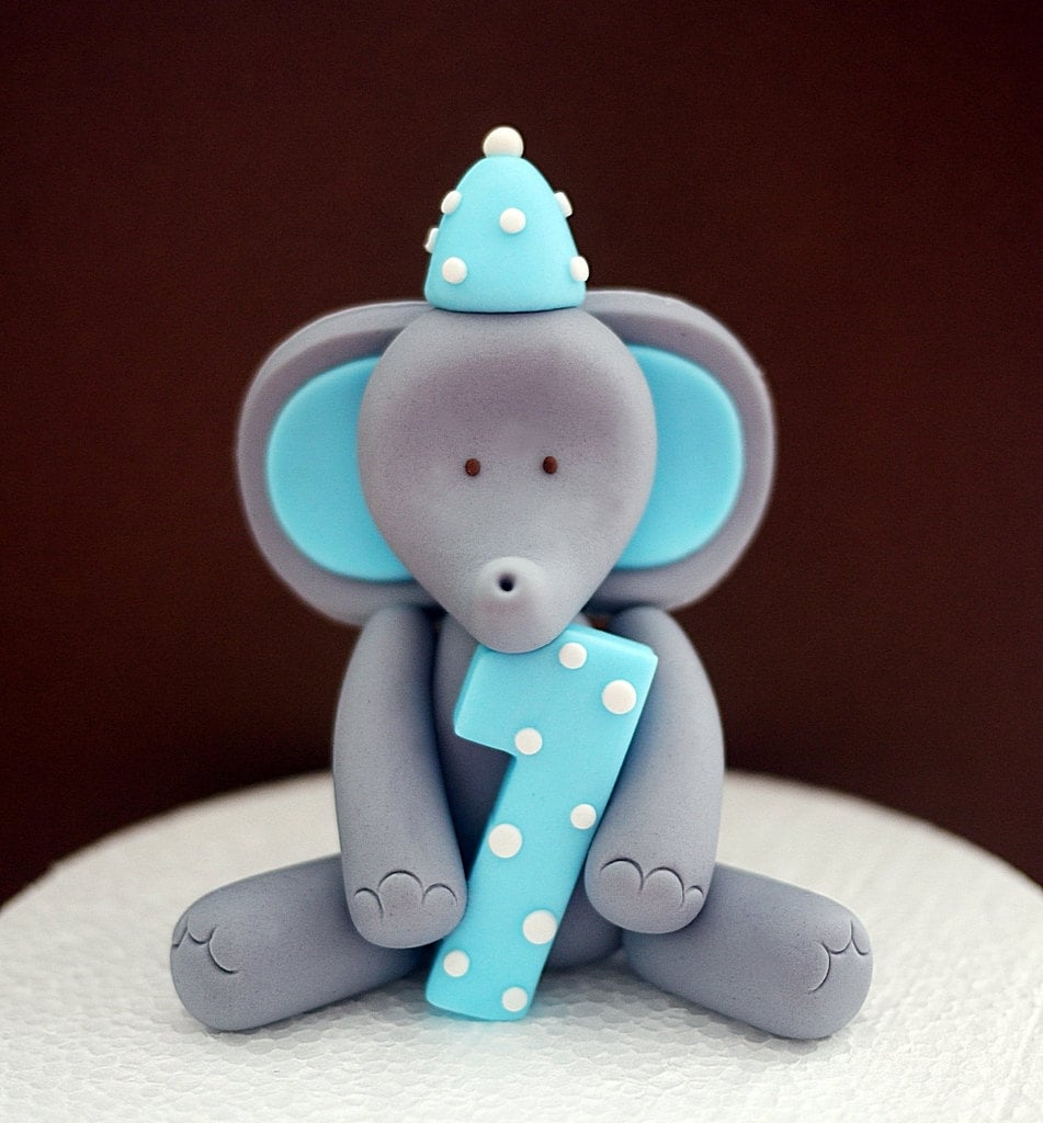 Elephant fondant cake topper. Elephant cake topper with number