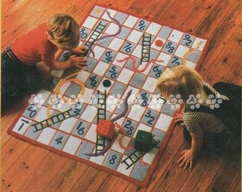 Vintage Chart Sewing Pattern to make A Children's Snakes & Ladders Play Mat Board Game 110x85 cm by PDF for Immediate Digital Download