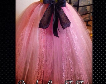 Pink Tutu with Pink Lace and Black Ribbon