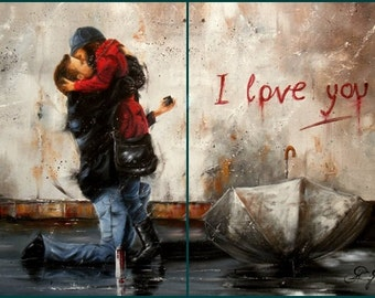 For Couples Couple In Love Anniversary Gift Hugging Couples Hugging Romantic Romance City Abstract Loving Couple Abstract  24X32In 2 panels