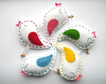 Colored Drops Felt Birds Ornaments, Spring Summer Felt Ornaments, home decor, Felt Birds, Set of 5 pieces