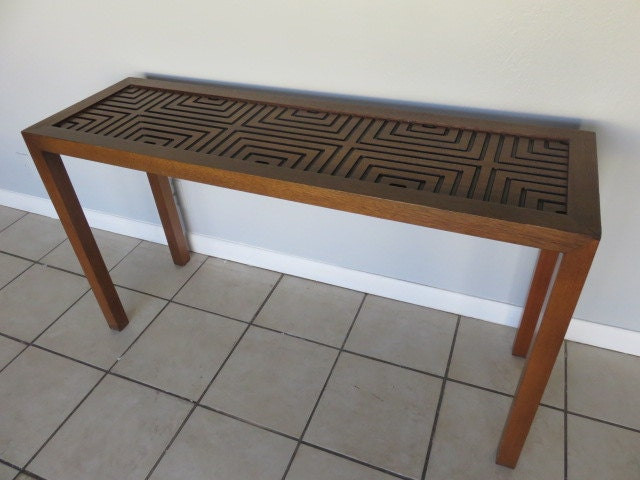 Vintage mid century modern console table by lane - Table haute console ...