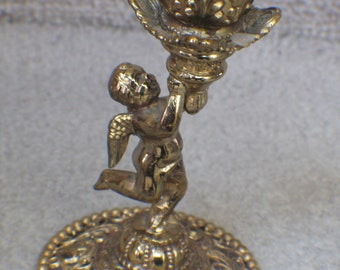 Vintage Brass Cherub Candle Holder