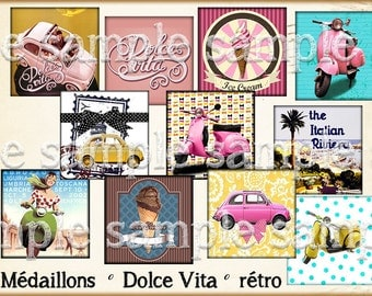 "Retro digital image ""Dolce Vita"" Italy fiat scooter ice was summer vintage cabochon"