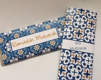 Blue and white, Moroccan paper, personalized candy wrappers, Islamic gifts, Moroccan tiles, Ramadan, Eid decoration, Eid party, Muslim gifts