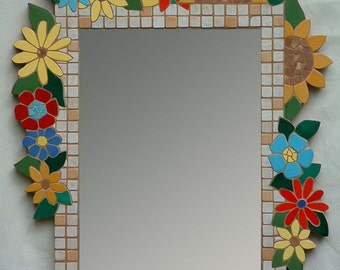 """Celebrate the Rites of Spring with this hand made floral mosaic mirror. Approx 24 x 32""""."""