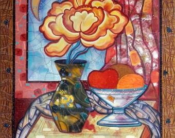 Orange Acryl Painting / Original Painting on Canvas / Still Life Acryl Painting / Orange Naturmort Painting