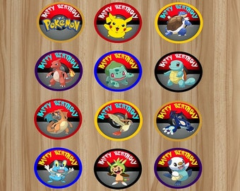 Pokemon Cupcake Toppers, 24 Toppers, Pokemon Favor, Pokemon Birthday, Pokemon Party, Pokemon Toppers, Pokemon Stickers, Instant Download