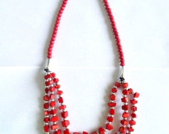 Red Ivory and wood multi layer square beaded necklace