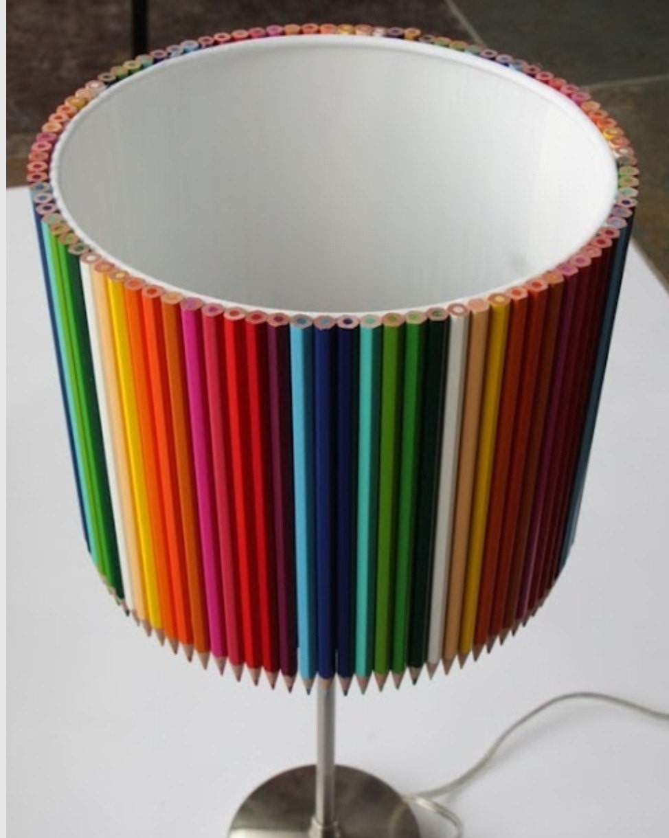 colored pencil lamp shade free shipping by lampshadecentral. Black Bedroom Furniture Sets. Home Design Ideas