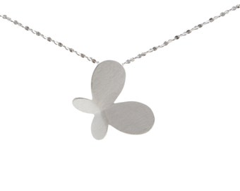 Simplistic Butterfly Design Necklace in Sterling Silver Brushed Finish 18''