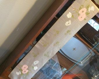 Vintage 1950's Flowery Silk  Vanity Runner