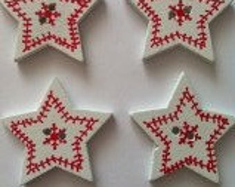 15 x White and red nordic style star buttons