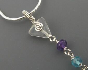 Chakra Necklace Sterling Silver Seven Gemstones Quartz Crystal