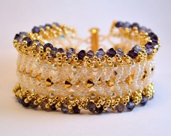 Purple and Gold Crystal Beadwoven Bracelet
