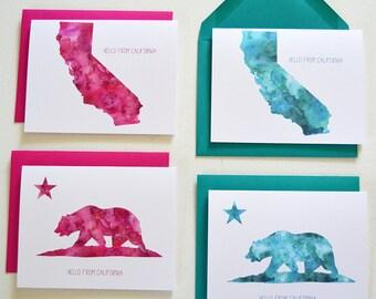 8 Watercolor California folded notecards + envelopes