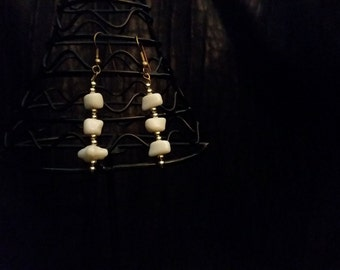 Classic White and Gold earrings