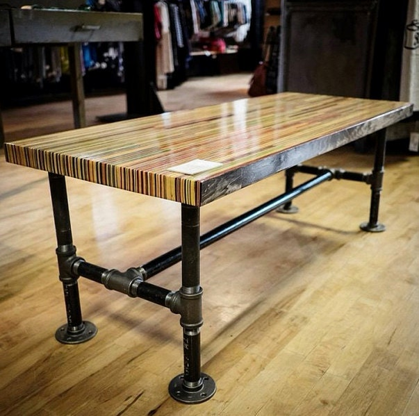 Long Coffee Table Legs: Recycled Skateboard Coffee Table Butcher Block By