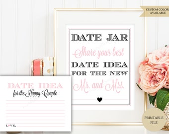 Date jar sign plus Date night cards (PRINTABLE FILE) - Date jar - Date night sign - Date night jar - Date night ideas - Date night cards