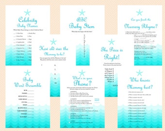 Beach, Sea Waves, Nautical Baby Shower Games Printable, Beach Theme Baby Shower Games, Starfish, Sea Waves, Download Games TLC09