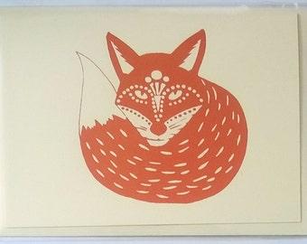 Fox, hand screen printed A6 greetings card.