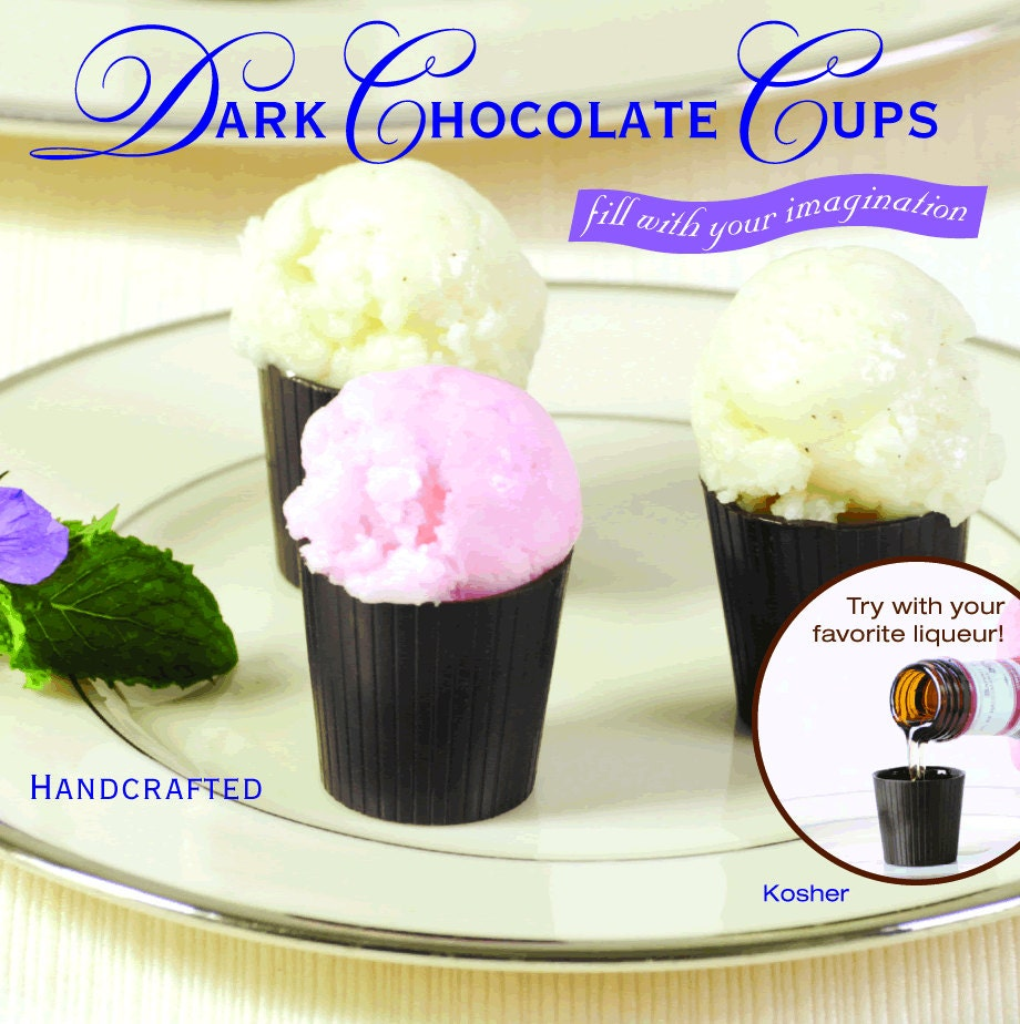 32 Dark Chocolate Dessert Or Cordial Cups