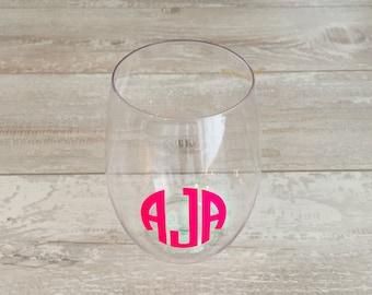 Monogrammed Wine Glasses, Set of 4