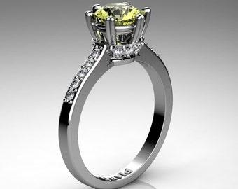 Classic Armenian 14K White Gold 1.0 Carat Yellow Topaz Diamond Solitaire Engagement Ring R1003-14KWGYT