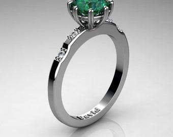 Classic 950 Platinum 1 Carat Emerald Diamond Solitaire Engagement Ring R1005-PLATDEM