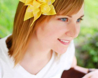 Yellow Chiffon Hair clip- layered silky petals