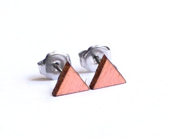 Geometric Earrings, Wood Earrings, Triangle Earrings, Tiny Earring Studs, 6mm Earrings, Salmon Earring Studs, Eco Friendly