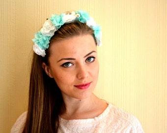 Mint Flower Crown Floral Headband Flower Headband Flower Headpiece