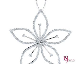 "Blooming Spring Flower Diamond Pendant Necklace with 16"" Chain 14k White Gold, Flower Diamond Pendant, Delicate Flower Diamond Necklace"