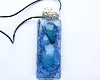 Bubbles blue Fusing glass Rectangle pendant