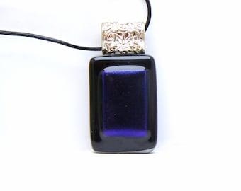 Pendant Dichroic Glass Fusing purple Rectangle