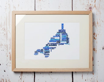 Cornwall Word Map - Print only (12 x 8)